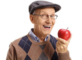 Older man with apple