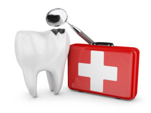 Model tooth with dental emergency kit recommended by Shepherdsville emergency dentist